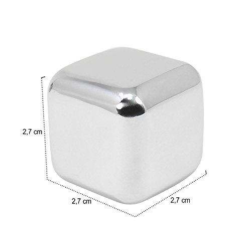 com-four® 18x Edelstahl-Eiswürfel, hochwertige Whisky-Steine, wiederverwendbare Eiswürfelform, Kühlsteine für Whiskey, Wein, Gin & Tonic-Getränke (18 Stück) - 7